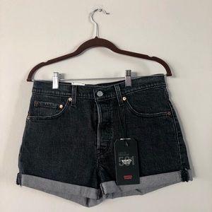 NWT Levi's 501 Mid Rise Black Cutoff Shorts 28